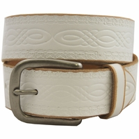 85 Vintage Genuine Leather Belt - White