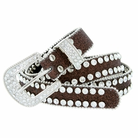 "Women's rhinestone-studded Fashion Belt 1"" Wide Brown"