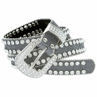 "Women's rhinestone-studded Fashion Belt 1"" Wide Silver"