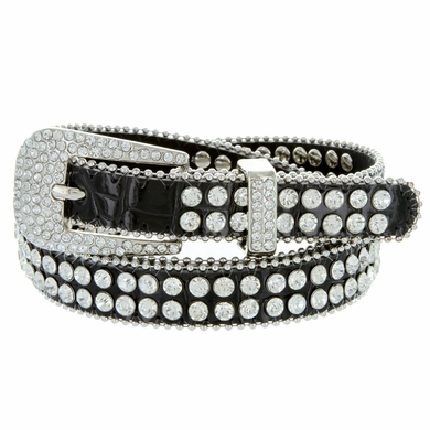 "9011 Women's rhinestone-studded Fashion Belt 3/4"" Wide - Black"