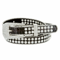"9011 Women's rhinestone-studded Fashion Belt 3/4"" Wide - Brown"