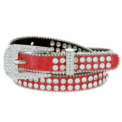 "9011 Women's rhinestone-studded Fashion Belt 3/4"" Wide - Red"