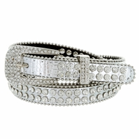 "9011 Women's rhinestone-studded Fashion Belt 3/4"" Wide - Silver"
