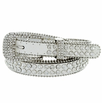 "9011 Women's rhinestone-studded Fashion Belt 3/4"" Wide - White"
