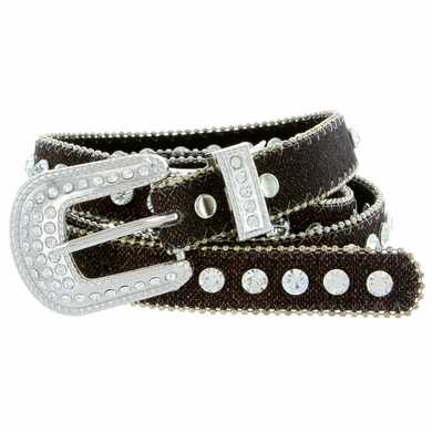 "9030 Women's rhinestone-studded Fashion Belt 3/4"" Wide Brown"