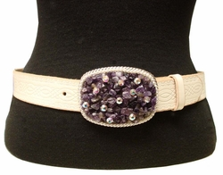 93065 Amethyst & Rhinestone Leather Belt