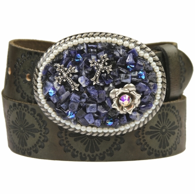 93520 Women's Rhinestones Buckle Leather Belt