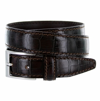 "9536-30 Men's Italian Alligator Embossed Calfskin Leather Dress Belt 1-1/8"" Wide - T. Moro (Dark Brown)"