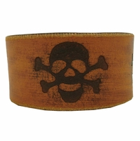 97B Genuine Leather Skull Wristband