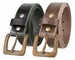 "A0041 Rusty Square Buckle and Genuine Full Grain Leather Belt 1 1/2"" Wide"