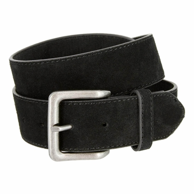 "A399 Suede Leather Casual Jean Belts 1-1/2"" wide - Black"