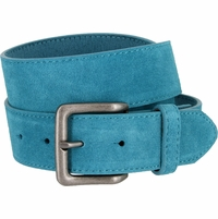 "A399 Suede Leather Casual Jean Belts 1-1/2"" wide - Blue"