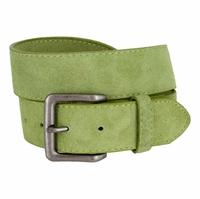 "A399 Suede Leather Casual Jean Belts 1-1/2"" wide - Green"
