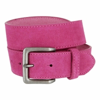 "A399 Suede Leather Casual Jean Belts 1-1/2"" wide - Hot Pink"