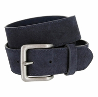 "A399 Suede Leather Casual Jean Belts 1-1/2"" wide - Navy"