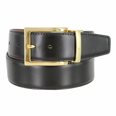 "A505-GP-160501 Men's Reversible Genuine Leather Dress Casual Belt 1-3/8"" (35mm) wide - Black/Tan"