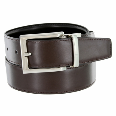 "A505S Men's Reversible Leather Dress Belt (1-3/8"" or 35mm) - Brown/Black"