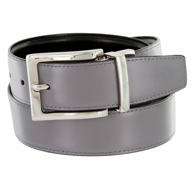 "A505S Men's Reversible Leather Dress Belt (1-3/8"" or 35mm) - Gray/Black"