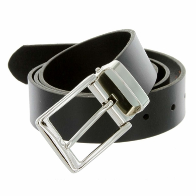 "A53035 Men's One Piece Full Genuine Leather Dress Belt 1-3/8"" (35mm) Wide - Black"