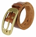 AC0161 Oval Buckle Full Grain Diamond Tooled Leather Casual Jean Belt Tan1