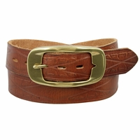AC0161 Oval Buckle Full Grain Diamond Tooled Leather Casual Jean Belt Tan
