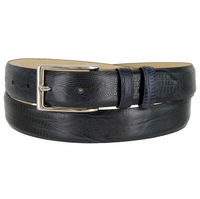 "Adam 6162 Men's Italian Leather Dress Navy Belt 1-1/8"" Wide - Lizard Navy"
