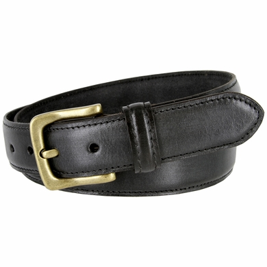 "Adjustable Vintage Style Casual Dress Jeans Genuine Leather Belt 1-3/8"" wide - Black"