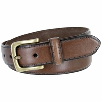 "Adjustable Vintage Style Casual Dress Jeans Genuine Leather Belt 1-3/8"" wide - Brown"