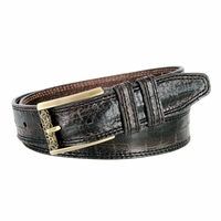 Lejon Alligator Embossed Genuine Italian Saddle Leather Casual Belt - Dark Brown