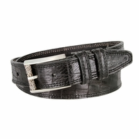 Lejon Alligator Embossed Genuine Italian Saddle Leather Casual Belt - Black