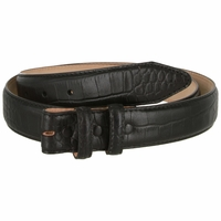 "Alligator Embossed Genuine Leather Italian Calfskin Belt Strap 1 1/4"" Wide- Black"