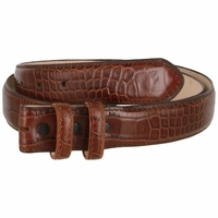 "Alligator Embossed Genuine Leather Italian Calfskin Belt Strap 1 1/4"" Wide - Brown"