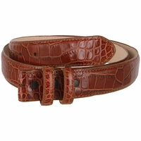 "Alligator Embossed Genuine Leather Italian Calfskin Belt Strap 1 1/4"" Wide- Cognac"