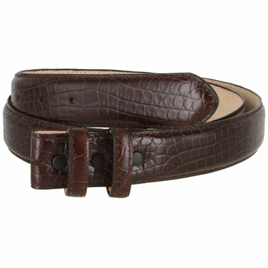 Alligator Embossed Genuine Leather Italian Calfskin Belt Strap - Wine
