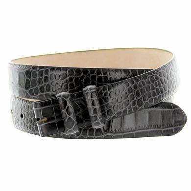 "Alligator Grain 1 1/8"" (30mm) wide Belt Strap - Gray"