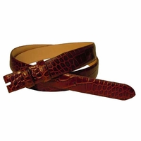 "Alligator Grain Belt Strap 1 1/8"" wide tapering to 1"" - Tan"