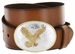 """Gold American Eagle Engraved Buckle Genuine Full Grain Leather Casual Jean Belt 1-1/2""""(38mm) Wide"""