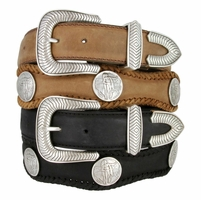 American Indian Coin Concho Western Genuine Leather Belt