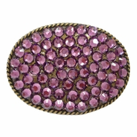 "Amethyst Swarovski Rhinestone Belt Buckle Fits 1 1/2"" Wide Belts"