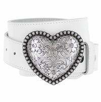 "Antique Silver Berry Heart Buckle Leather Belt 1-1/2"" Wide"