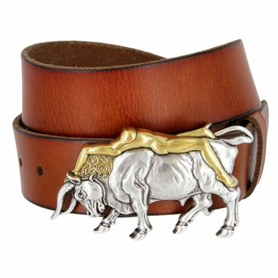 "Antique Silver/Gold Lady Bull Belt Buckle Casual Jean Leather Belt 1-1/2"" wide"