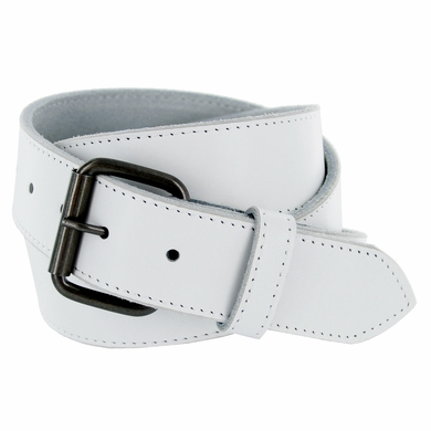 """Arctic White Genuine Leather White belt with roller buckle 1-1/2"""" Wide"""
