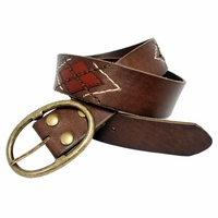 "Argyle Full Leather Belt 1-3/4"" Wide"