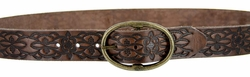 Ladies Leather Belt Western Floral Embossed Full Grain Vintage Style Casual Belt - Brown