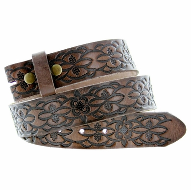 "Western Floral Embossed Full Grain Leather Belt Strap Coffee 1-1/2"" Wide - Brown"