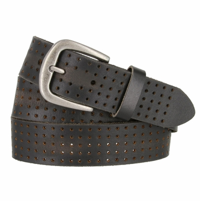 "BA29034 Perforated Leather Belt With Antique Silver Buckle 1.5"" Wide (Black)"