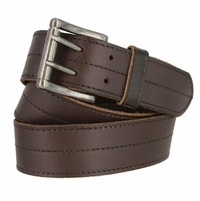 "BA29038 Stitched Double Prong Leather Belt 1.5"" Wide (Brown)"