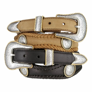 Baron Gold Round Rope Edge Conchos Western Leather Belt