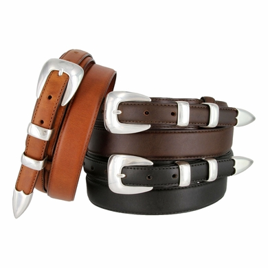 "Beckman Genuine Leather Ranger Belt 1-3/8"" taper to 3/4"""