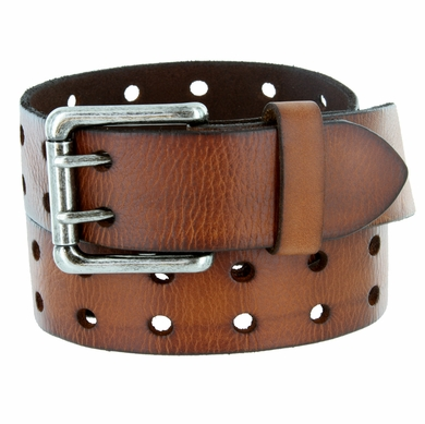 """Ben Two Holes Vintage Full Leather Casual Jean Belt 1-1/2"""" (38mm) Brown"""